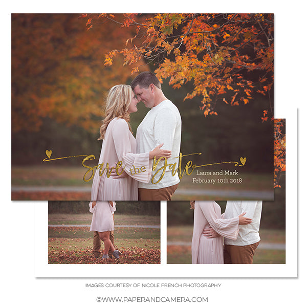 Golden Hearts Save The Date Card 5x7