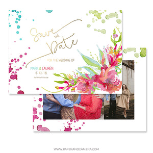 Floral Save The Date Card 4x6