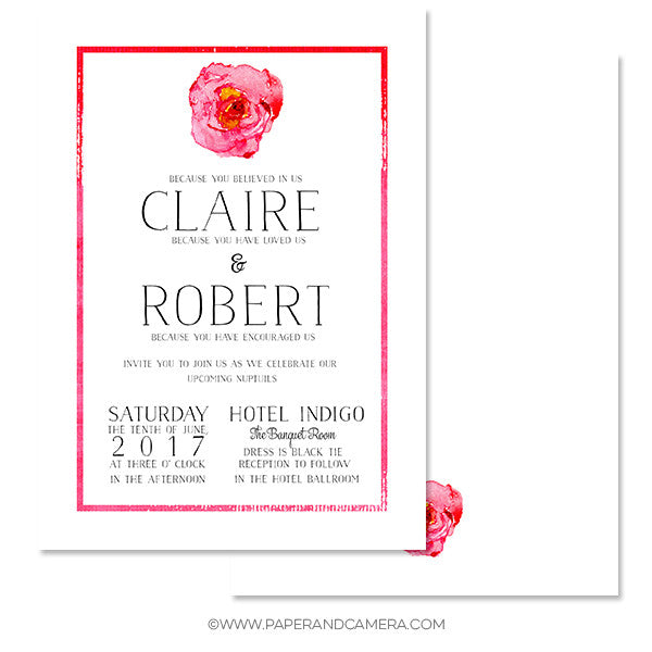 Wedding invitation templates paper and camera single rose wedding invitation 5x7 stopboris Gallery