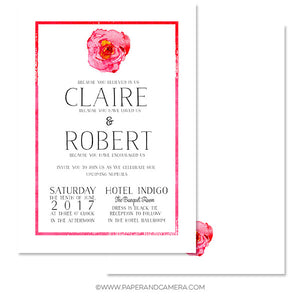 Single Rose Wedding Invitation 5x7