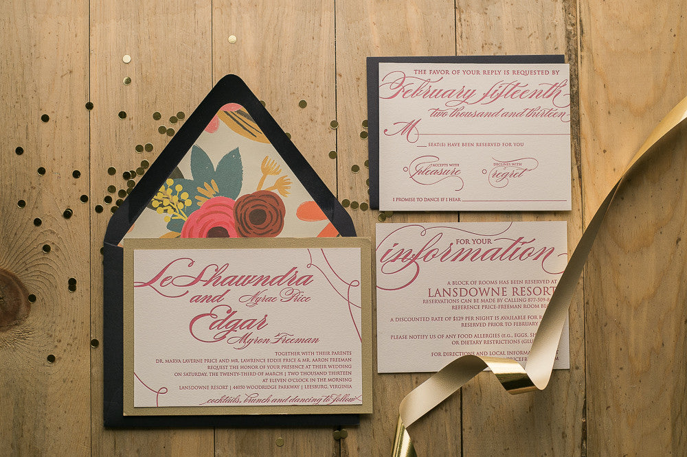Real Wedding: LeShawndra and Edgar | Hot Pink Letterpress Wedding Invitations with 🌸  Floral 🌸  and Twine Details
