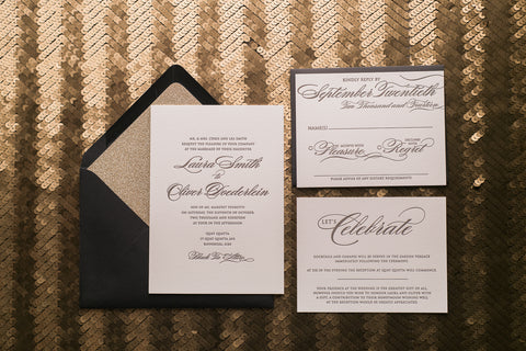 Real Wedding: Laura and Oliver | Traditional Black and Gold Letterpress Wedding Invitations