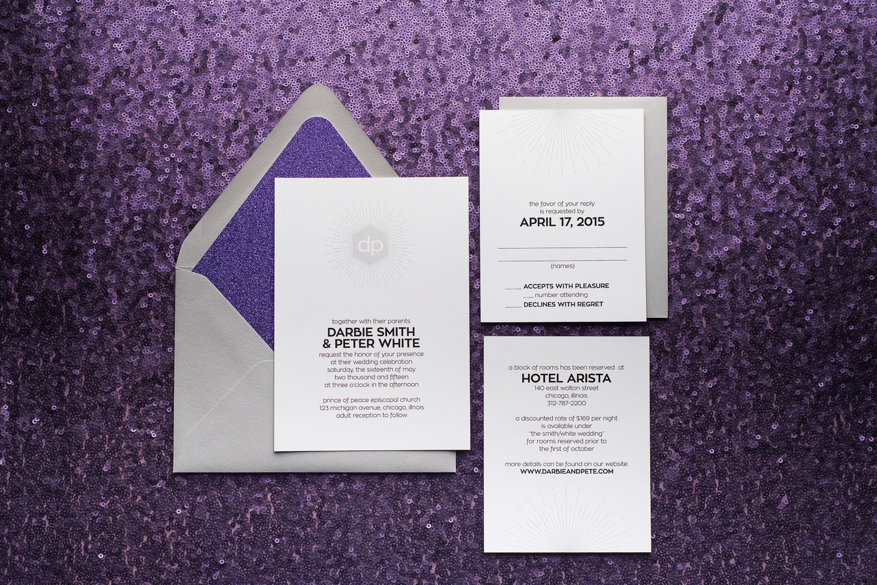 Our Darling Darbie Suite | Elegantly Modern Digitally Printed Wedding Invitations in Silver and Purple Glitter!