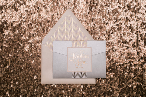 Rose Gold Foil Wedding Invitation Trends with Patterned Envelope Liners and Pocket Folder Stylings!