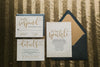 Modern Metallic Black and Gold Wedding Invitations with Elegant Calligraphy Details!
