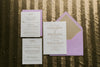 Real Wedding: Cathryn and Michael | Elegant Lavender and Gold Letterpress Wedding Invitations
