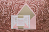 Real Wedding: Lacey and Chris | Sweet, Soft Pink and Gold Wedding Invitations