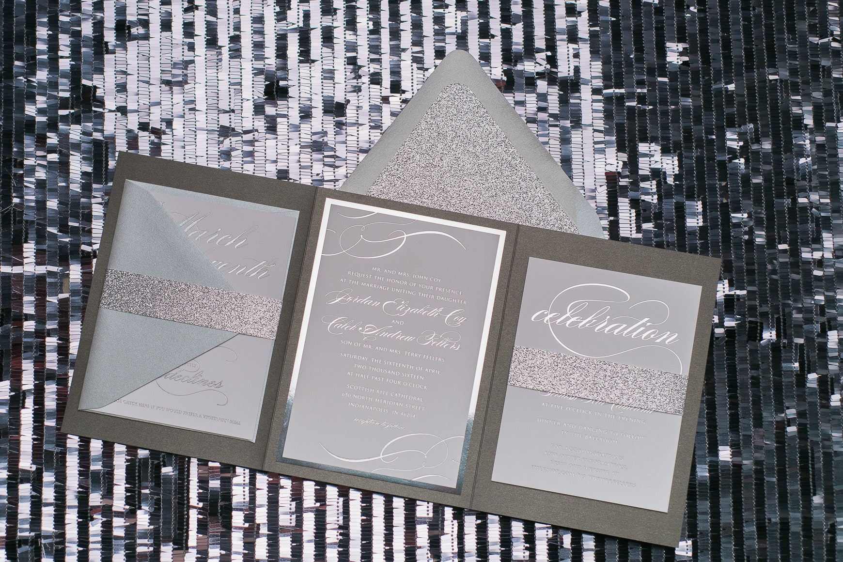 Real Wedding: Jordan and Caleb | Silver Foil and Grey Gate Folder Wedding Invitations with Sparkly Glitter!