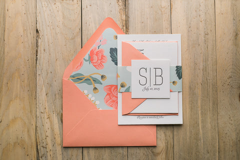 Real Wedding: Sarah and Bryan | Coral and Mint Floral Letterpress Wedding Invitations
