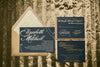 Black Tie Wedding Wonderful! | Gold Foil Stamping on Navy Paper Wedding Invitations