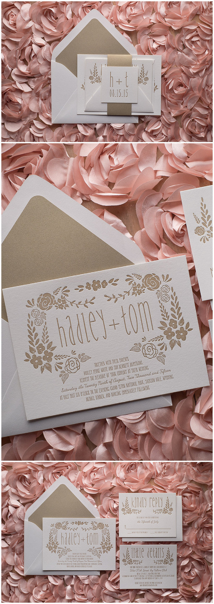 Hadley Suite, Letterpress, Warm Gold, Romantic, Floral Details, White and Gold, Wedding Invitations