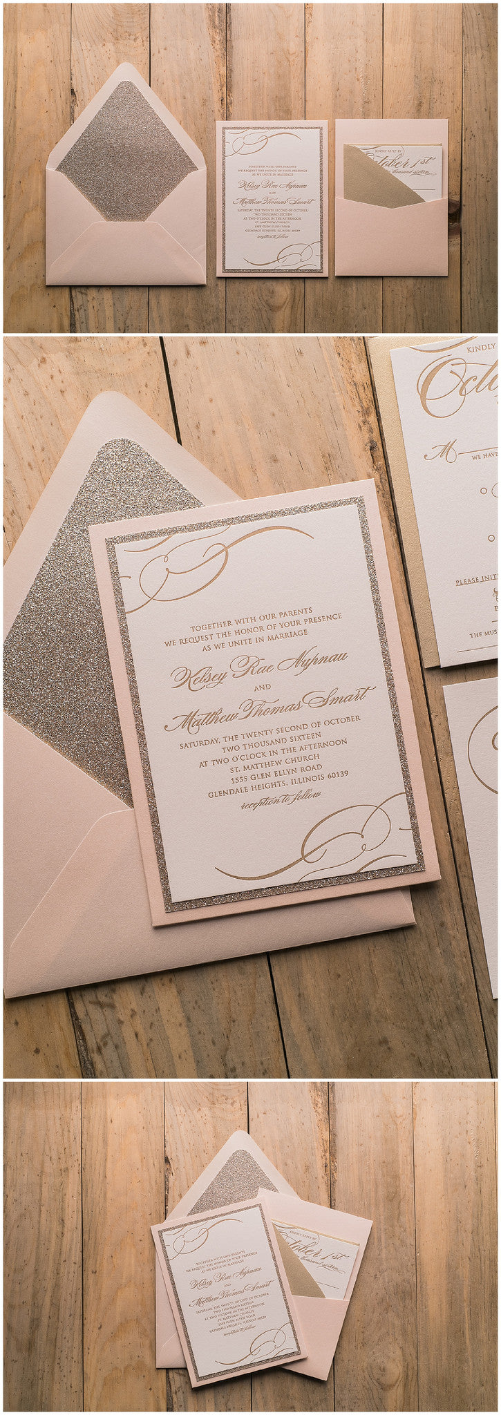 Blush, gold, gold glitter, blush and gold, letterpress, calligraphy, panel pocket, wedding invitations, fancy, elegant, real wedding