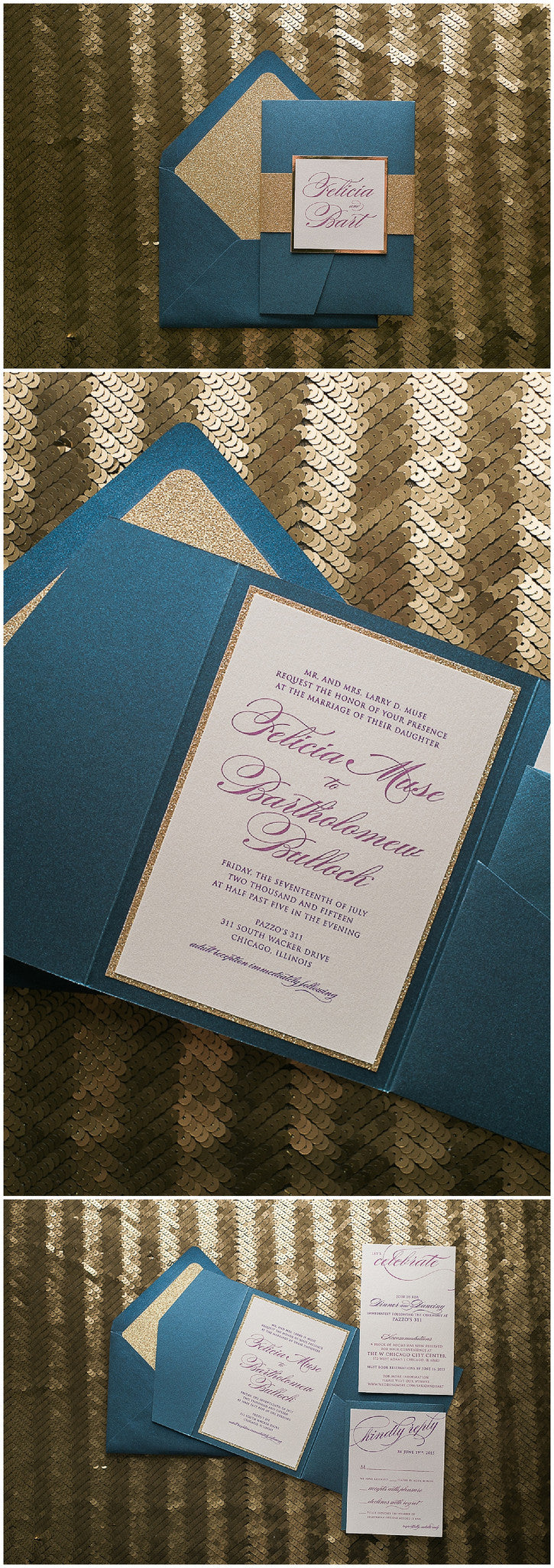 Elegant Calligraphy Wedding Invitations, Digital Printing, Fuchsia Digital Printing, Pocket Folder Wedding Invitations, Glitter, Gold Glitter, Navy and Gold, Just Invite Me, Wedding Invitations