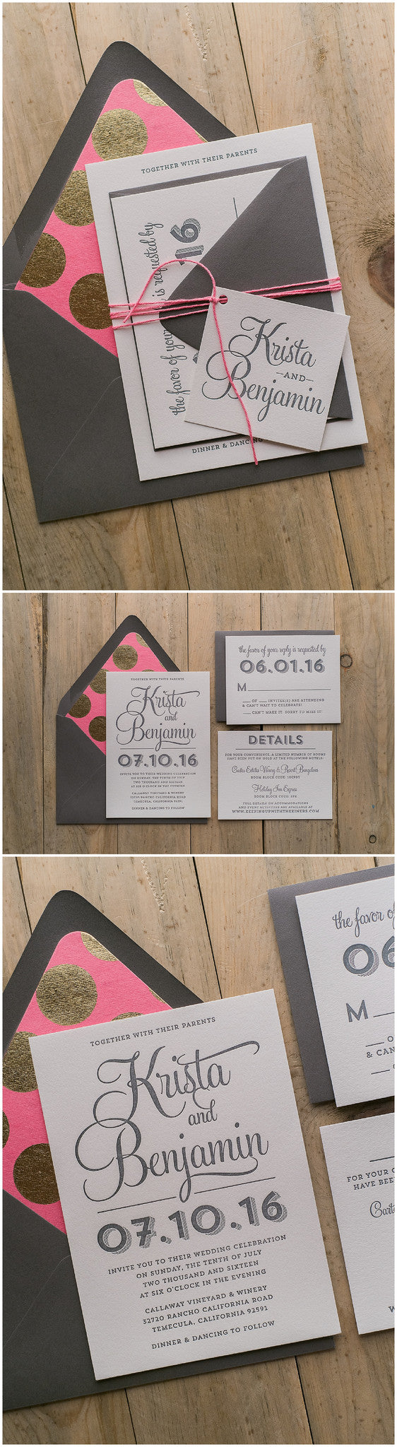 Polka Dot Wedding Invitations, Detailed Wedding Invitations, Letterpress Wedding Invitations, Hot Pink and Gold, Gold Polka Dots, Grey, Rustic Styling, Wedding Invitations, Brooke Suite, Just Invite Me