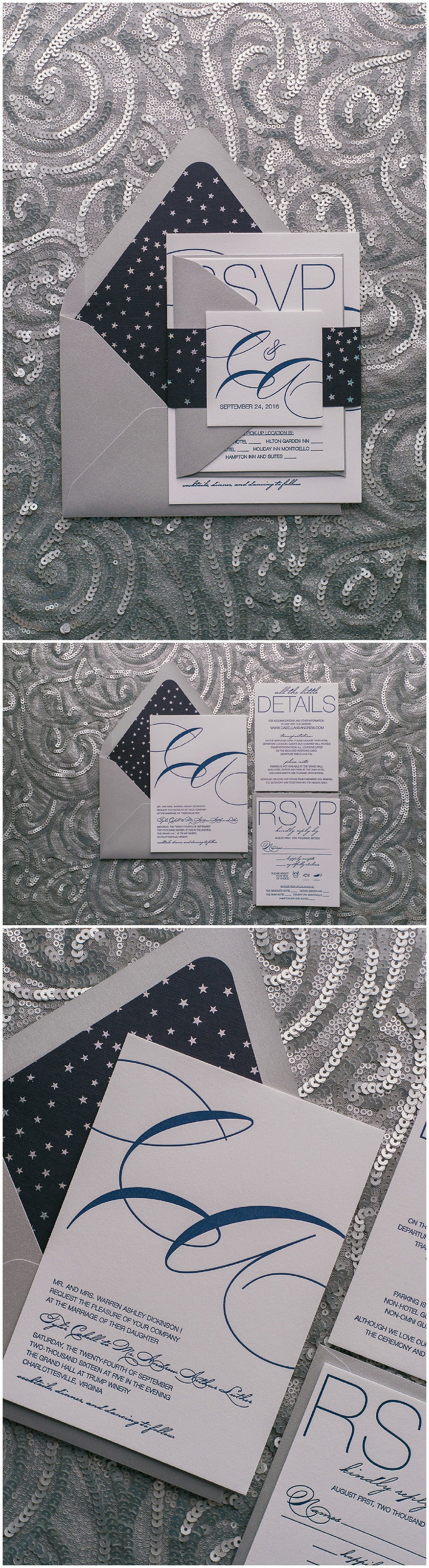 Wedding Invitations, Letterpress Printing, Silver and Navy, Silver Stars