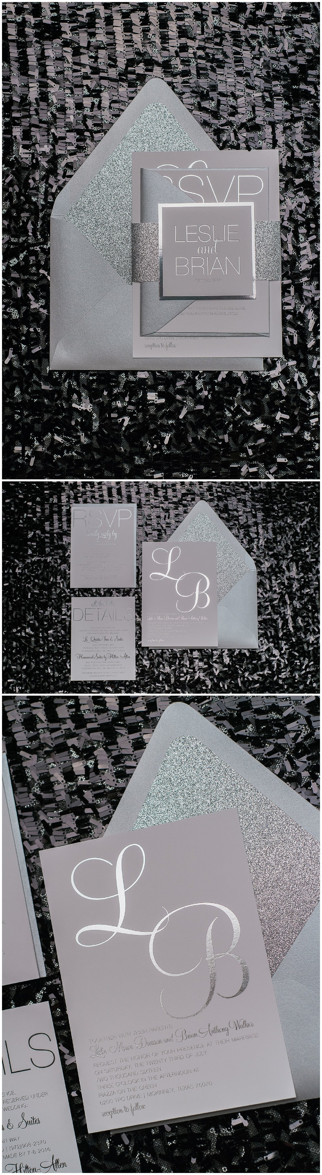 Wedding Invitations, Silver Foil Stamped, Silver Glitter, Leslie Suite