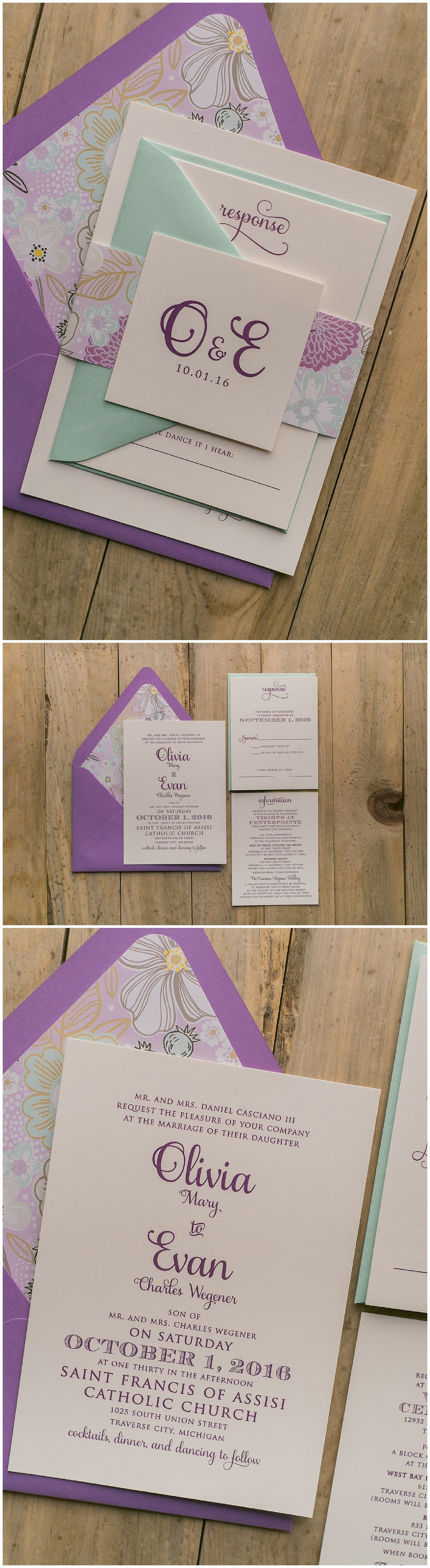 Wedding Invitations, Digital Printing, Mint and Lavender, Floral Details, Casey Suite, Just Invite Me