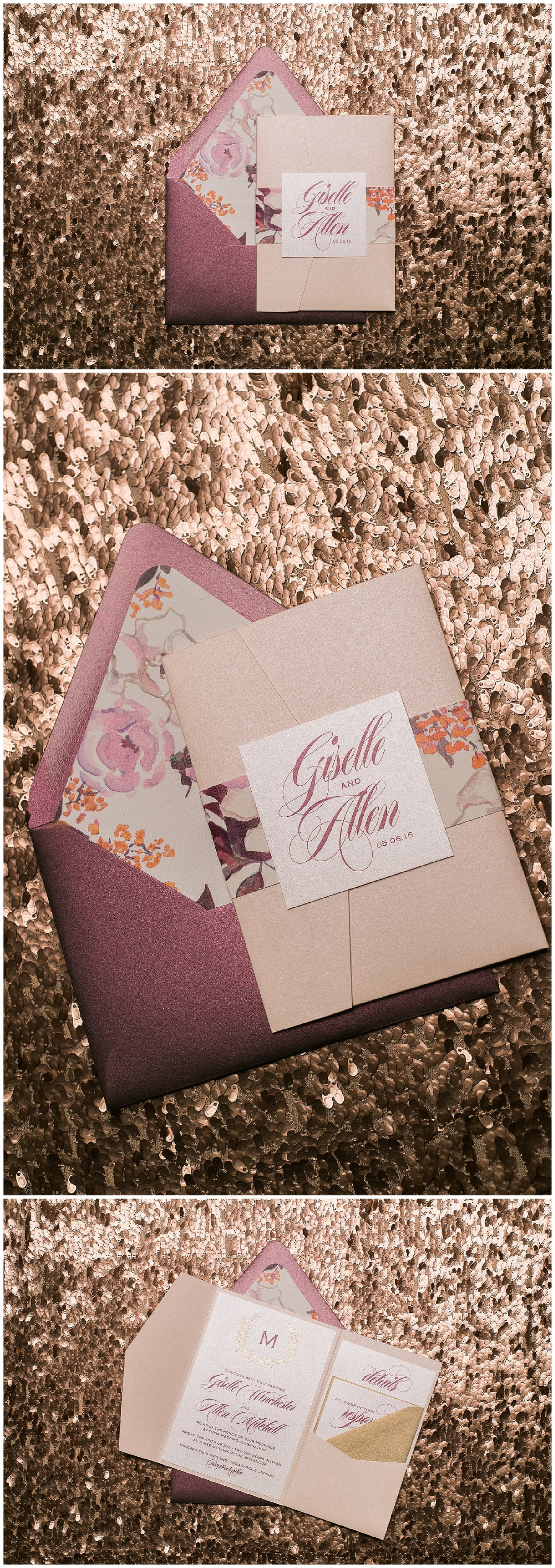 Wedding Invitations, Blush and Burgundy, Foil and Digital Printing, Floral Details, Giselle Suite, Just Invite Me