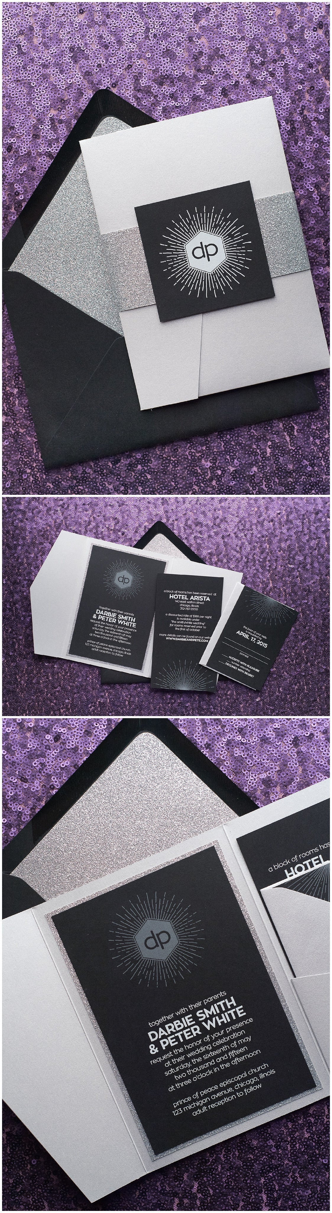 Wedding Invitations, Black and Silver, White Ink, Digital Printing, Pocket Folder, Darbie Suite, Just Invite Me