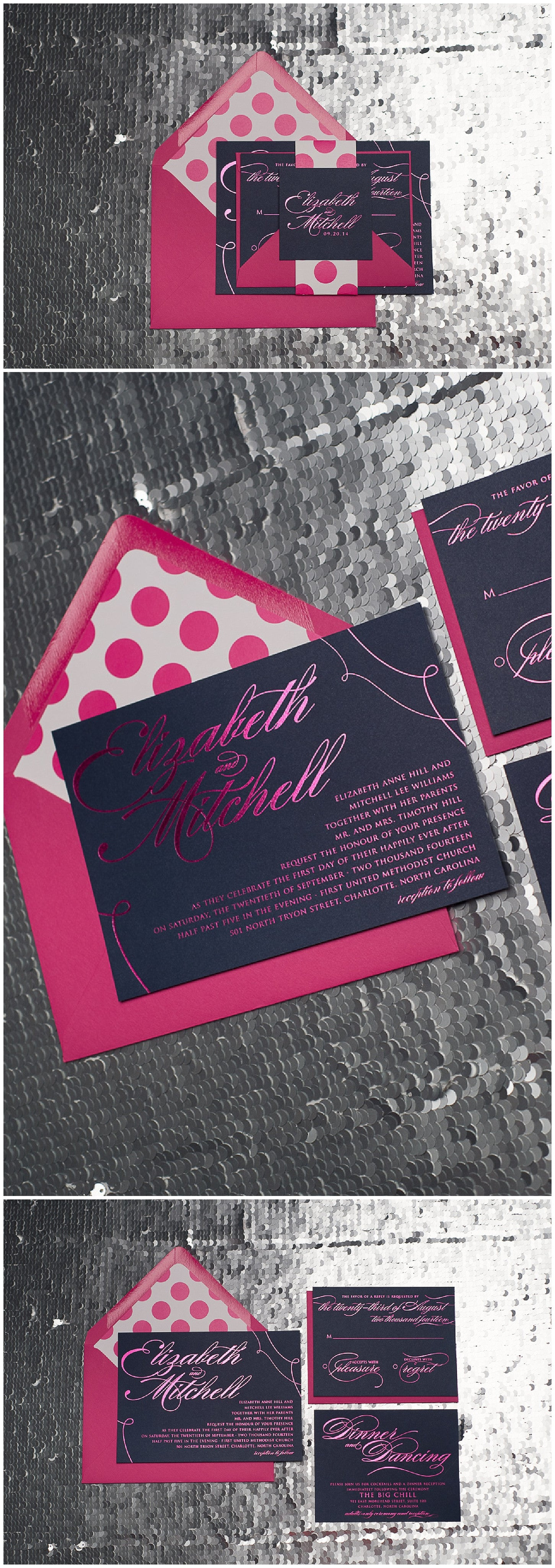 Wedding Invitations, Hot Pink Foil, Kate Spade Inspired, Hot Pink and Navy, Polka Dots, Lauren Suite, Just Invite Me,