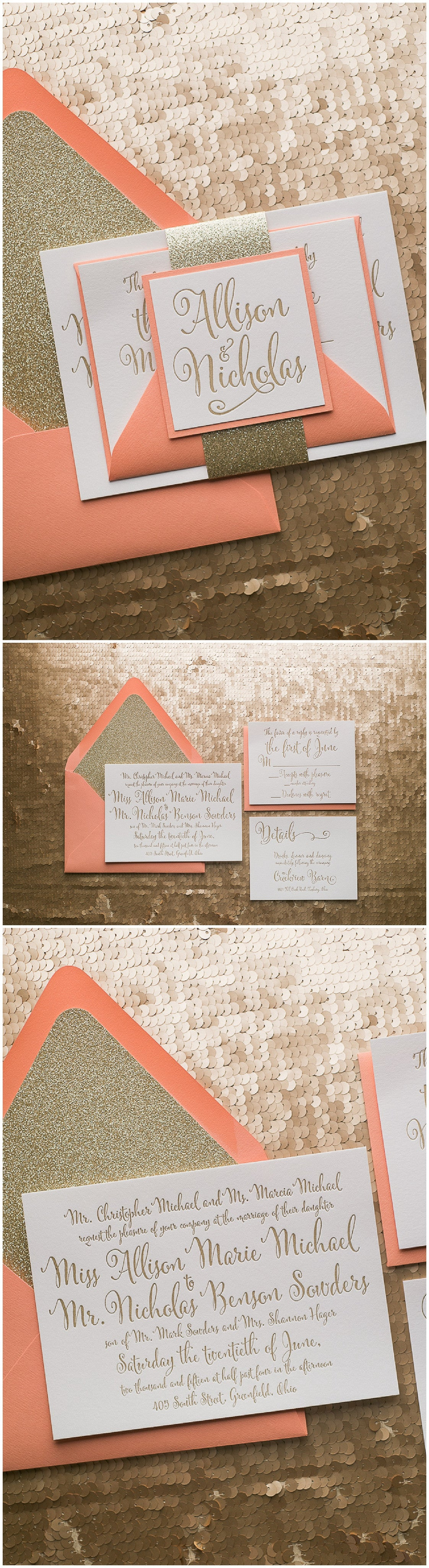 Wedding Invitation, Affordable Letterpress, Coral and Gold, Gold Glitter, Summer Wedding, Ellie Suite, Just Invite Me