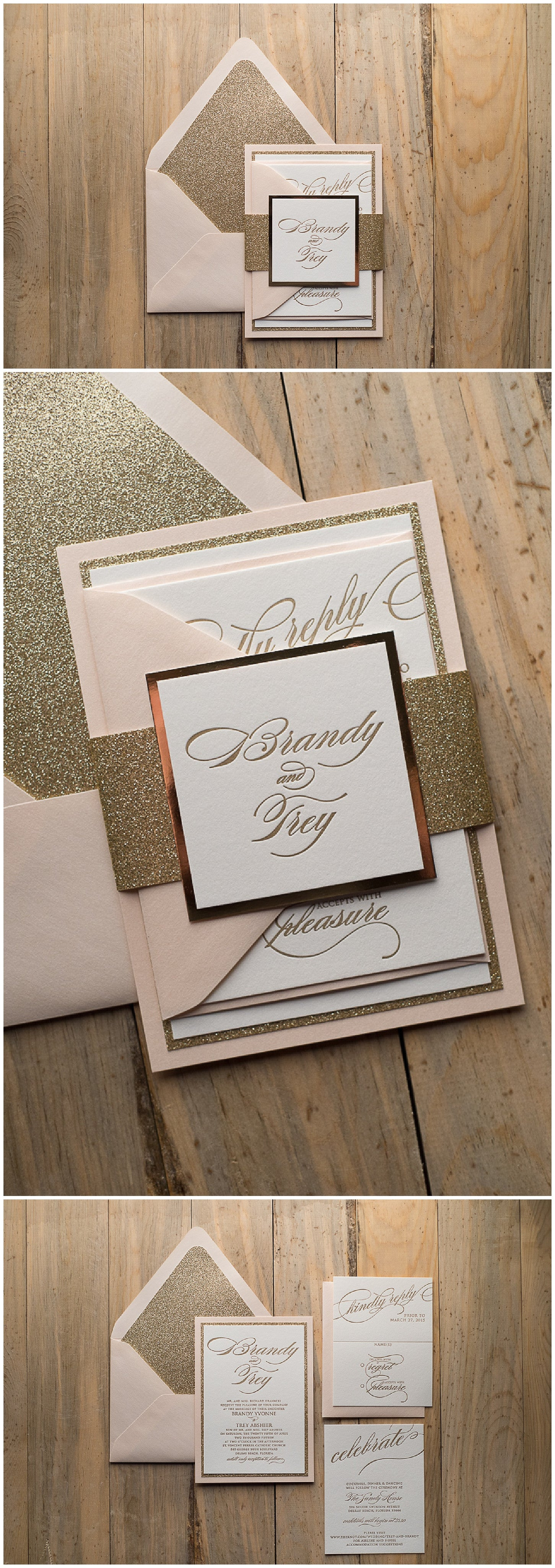 Letterpress Wedding Invitations, Blush and Gold, Trending, Fancy, Black Tie, Formal, Faith Suite, Just Invite Me