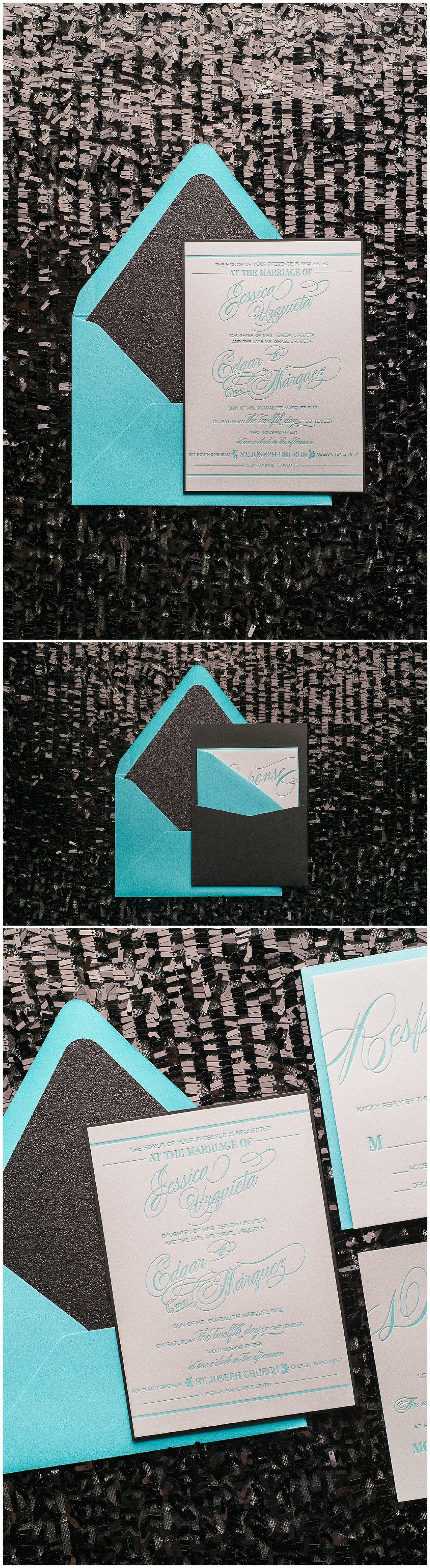 Wedding Invitation Trends, Turquoise and Black, Turquoise Letterpress, Black Glitter, Gianna Suite, Panel Pocket Invitations, Just Invite Me