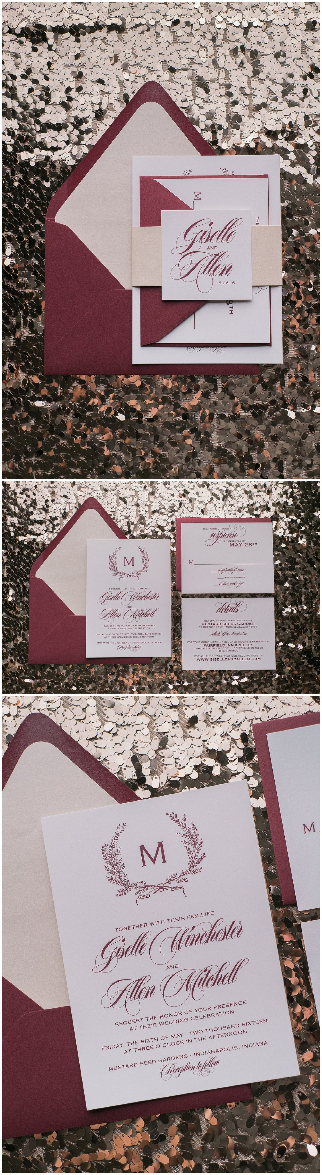 Wedding Invitations, Blush and Wine, Burgundy, Digital Printing, Affordable Wedding Invitations, Giselle Suite, Just Invite Me