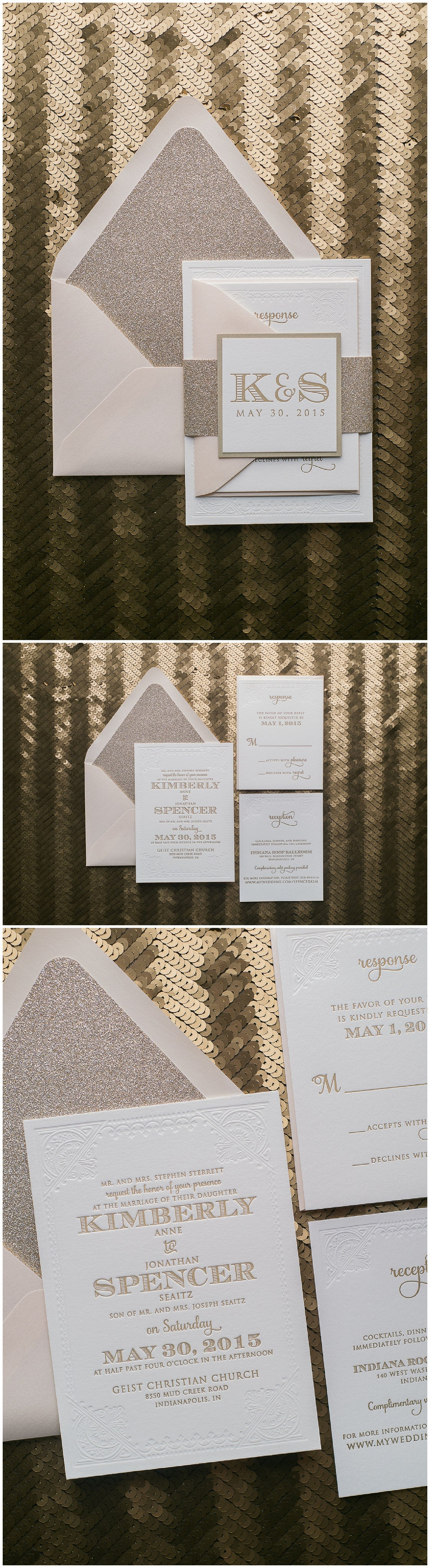 Wedding Invitations, Letterpress, Blind Press, Blush and Gold Wedding Trends, Gold Glitter, Kristin Suite, Just Invite Me