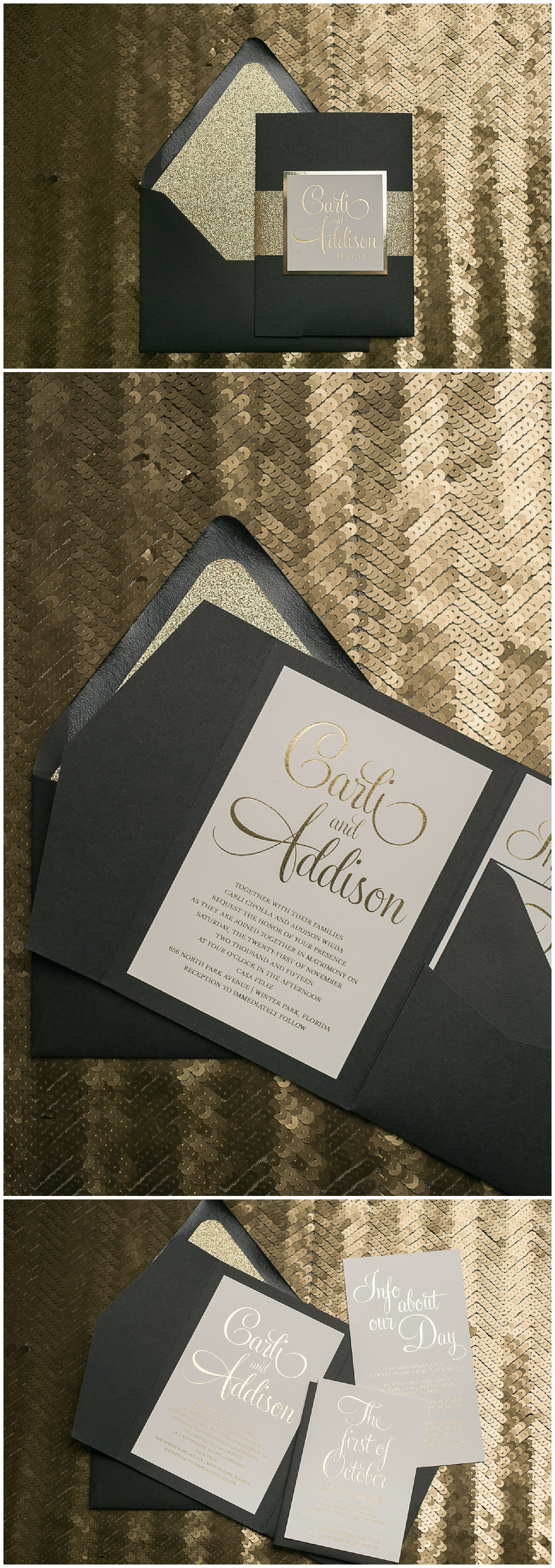 Glamour Wedding Invitations, Gold Foil, Black Tie, Gold and Black, Trending, Formal, Bailey Suite, Just Invite Me
