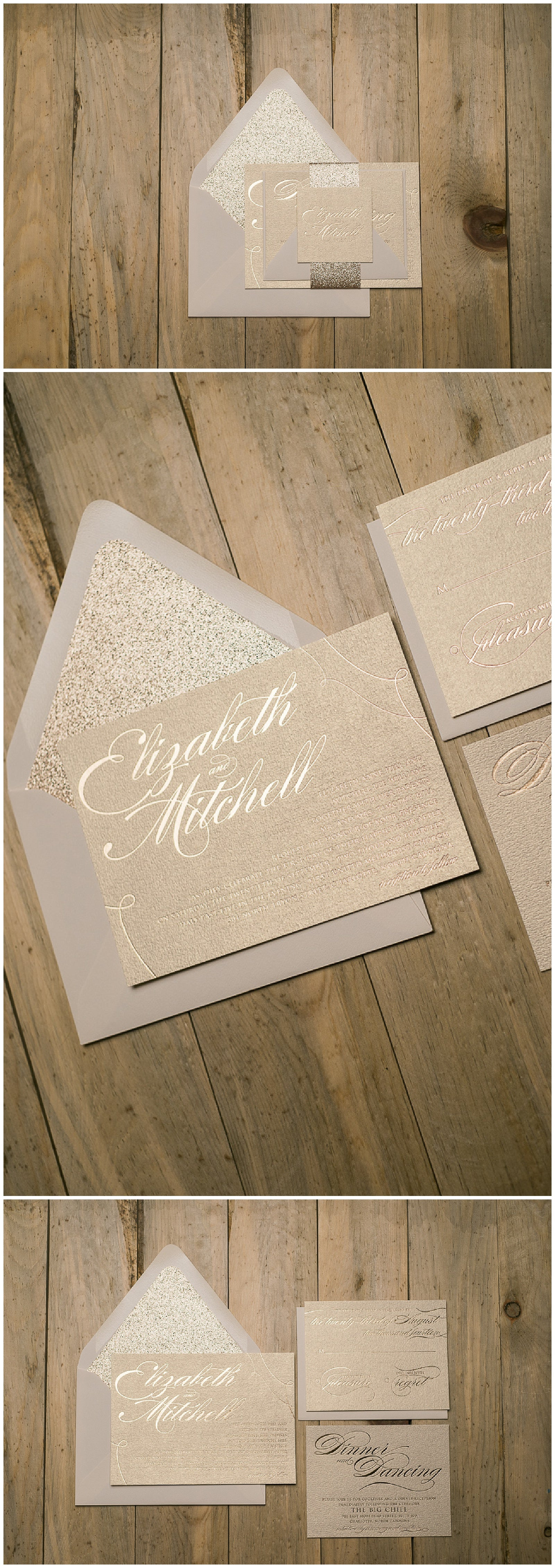 Rose Gold Foil Wedding Invitations, Neutral Wedding Colors, Glitter Wedding Stationery, Lauren Suite, Just Invite Me