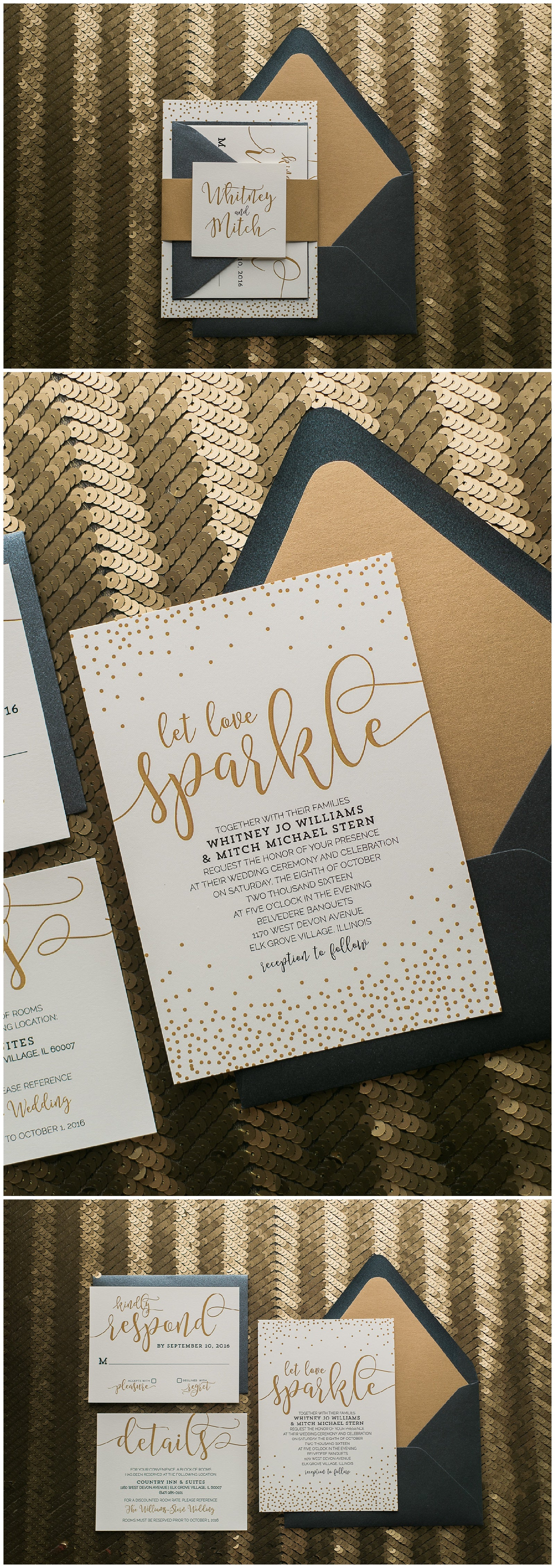 Black and Gold Wedding Invitations, Affordable Wedding Invitations, Modern Wedding Stationery, Whimsical, Romantic Styling, Whitney Suite, Just Invite Me