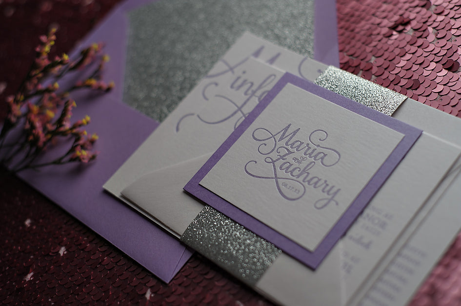 Silver And Purple Wedding Invitations: LAVENDER & SILVER GLITTER WEDDING