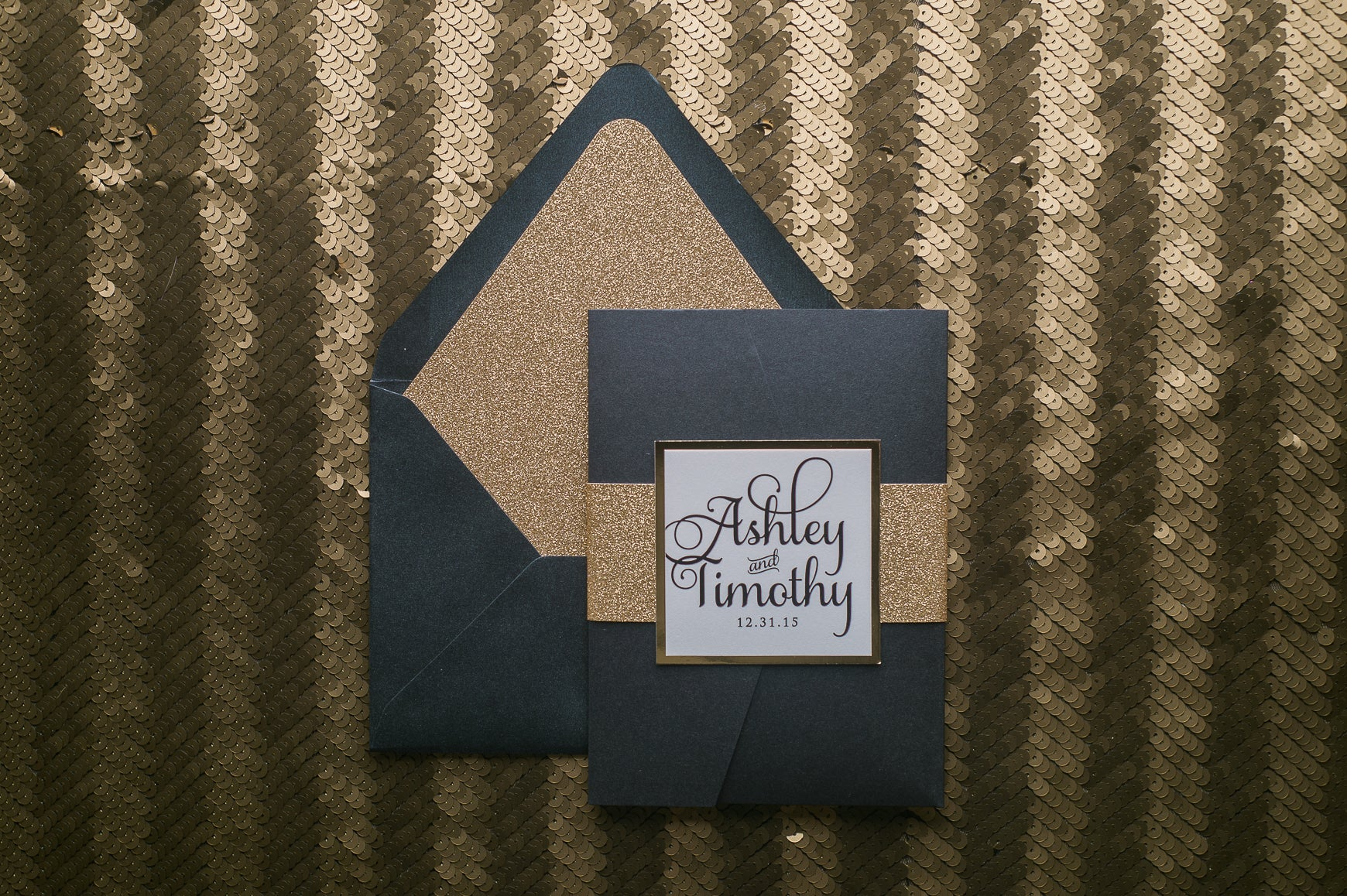 Black and Gold Pocket Luxury Wedding Invitations by Just Invite Me