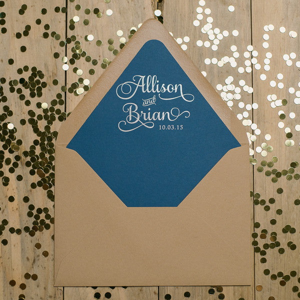 Custom Foil Stamped Envelope Liners: A7, A2, Square