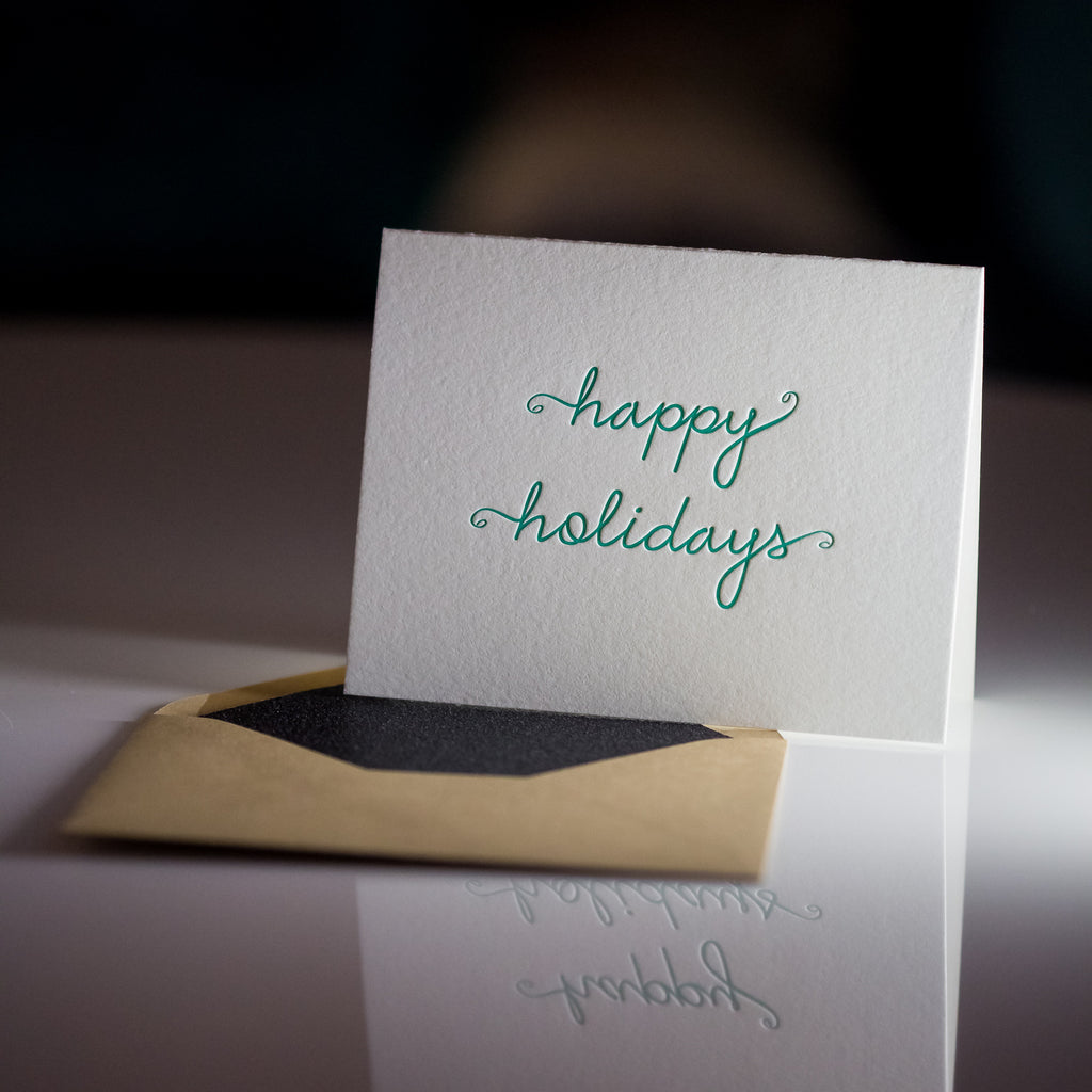 Trendy Holiday Cards // Green Happy Holidays - LETTERPRESS