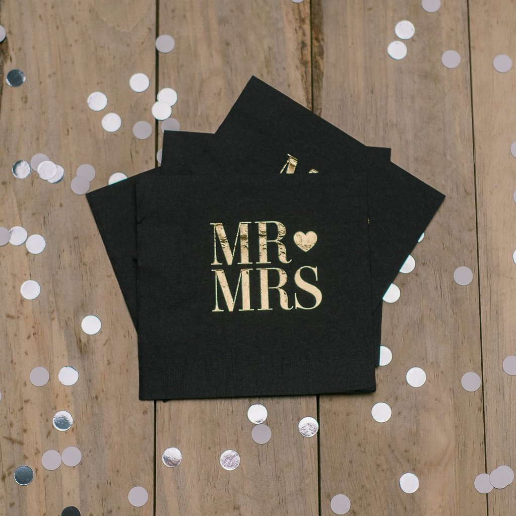 Napkins - Mr. and Mrs. - Gold and Black