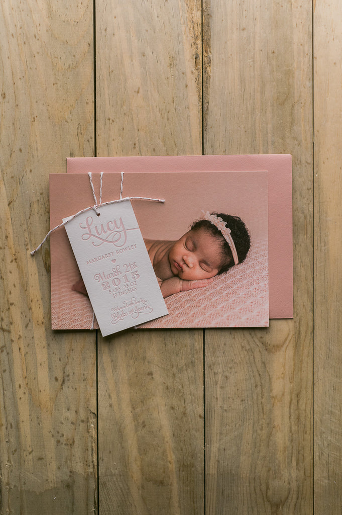 Whimsical Photo + Letterpress Birth Announcement