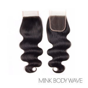"LACE CLOSURE 4X4"" - MINK BODY WAVE"