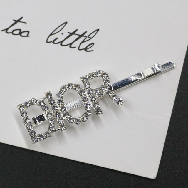 Crystal Letter Hair Clips