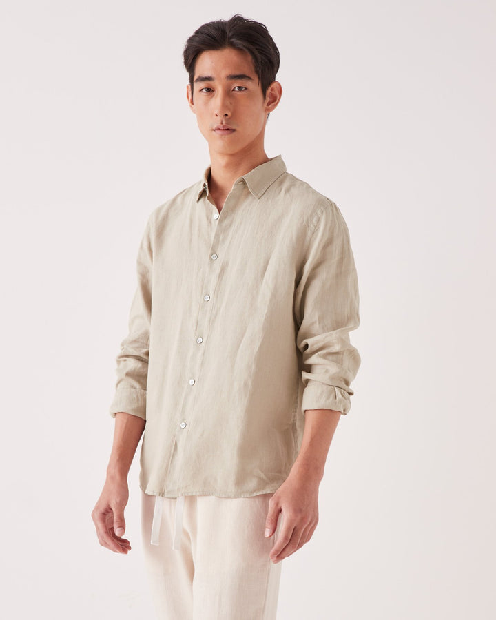 ASSEMBLY - Casual L/S Shirt Washed Khaki