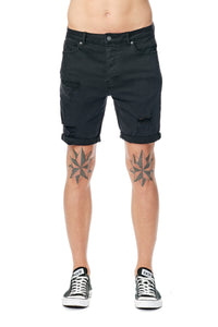 A Brand A Dropped Skinny Short Blackout Front View