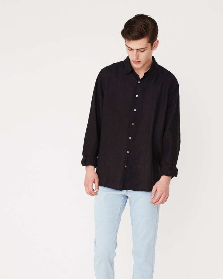 Assembly Label Casual Longsleeve Shirt Black Front View