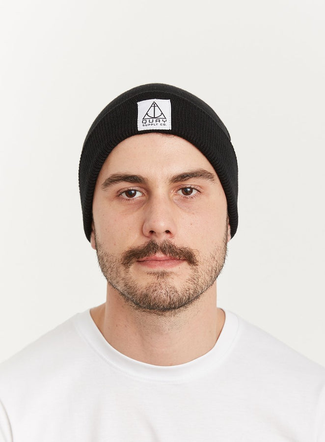 Quay Beanie Black Front View