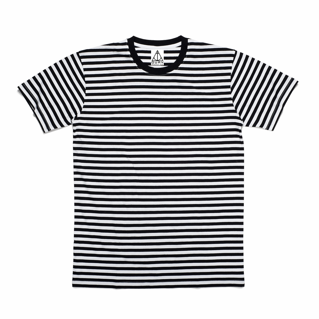 QUAY - Stripe Crew Tee Black & White