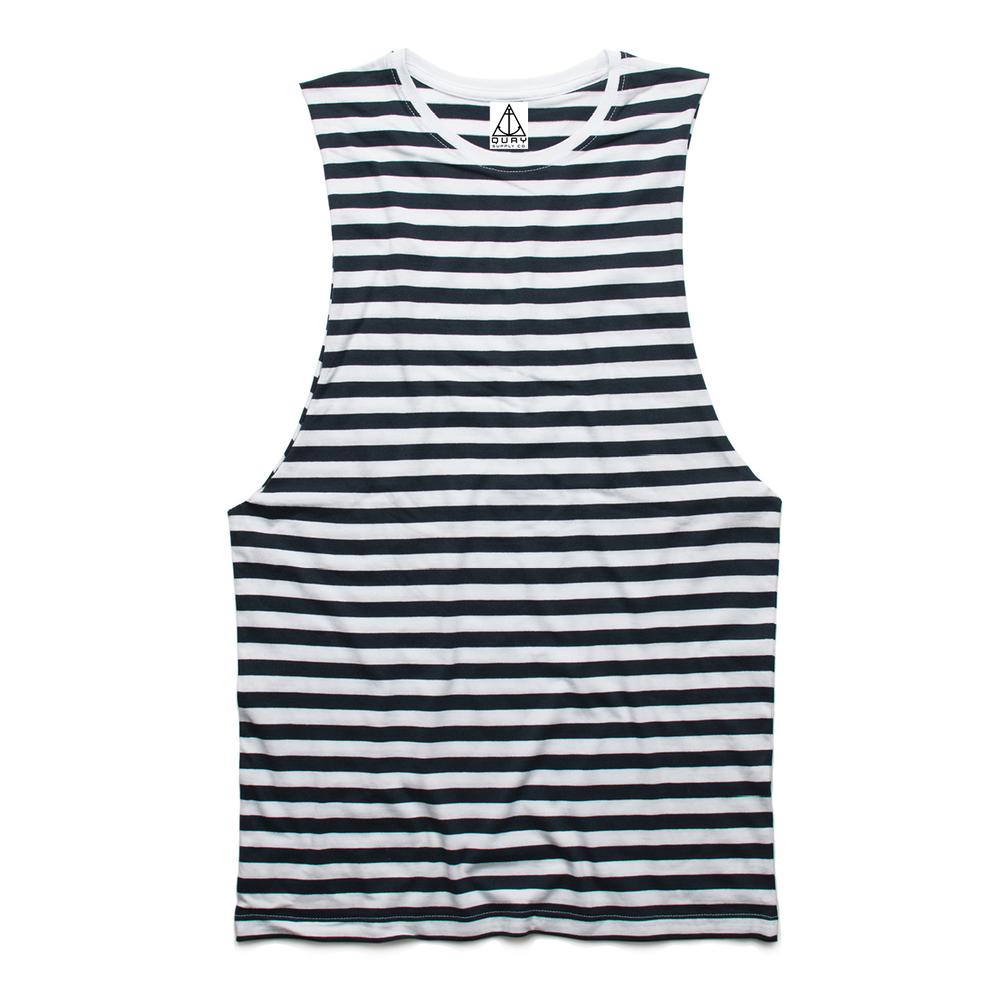 QUAY - Stripe Muscle Navy & White