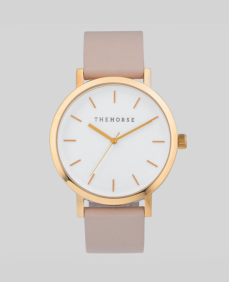 THE HORSE - Polished Rose Gold / Blush Band / White Face