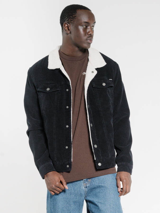 THRILLS - Sherpa Wanderer Corduroy Denim Jacket Black