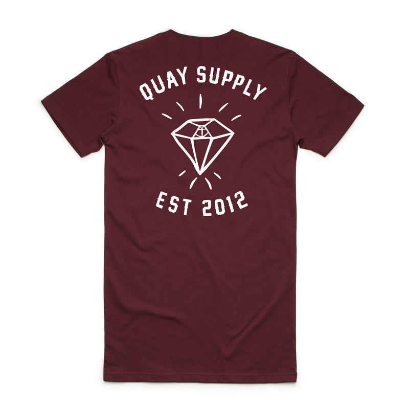 "QUAY - ""Diamond"" Tall Tee Maroon"