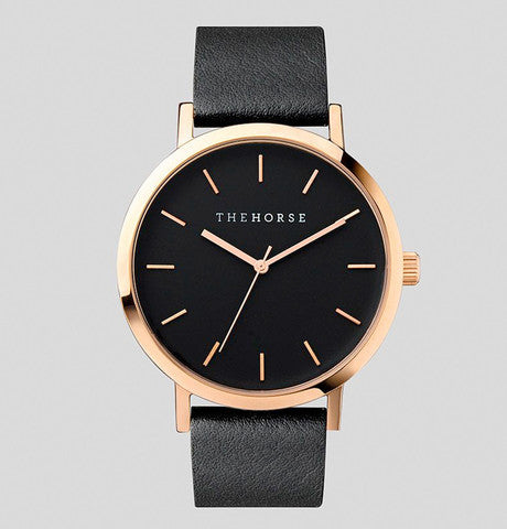 THE HORSE - Polished Rose Gold / Black Band